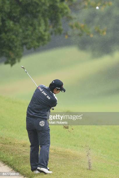 Rikako Morita of Japan hits her second shot on the 5th hole during the second round of the Munsingwear Ladies Tokai Classic 2017 at the Shin Minami...