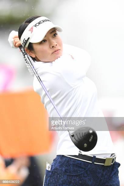 Rikako Morita of Japan hits her tee shot on the 10th hole during the final round of the Studio Alice Open at the Hanayashiki Golf Club Yokawa Course...