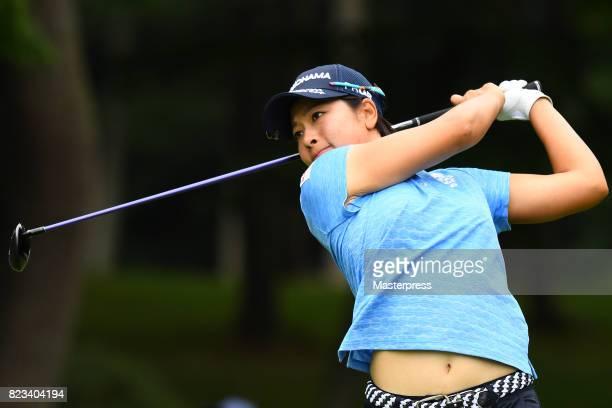 Rikako Morita of Japan Hits her tee shot on the 11th hole during the first round of the Daito Kentaku Eheyanet Ladies 2017 at the Narusawa Golf Club...