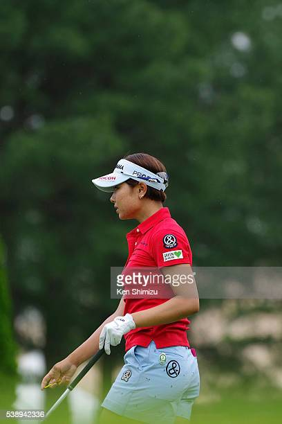 Rikako Morita of Japan hits her tee shot on the 13th hole during the first round of the Suntory Ladies Open at the Rokko Kokusai Golf Club on June 9...
