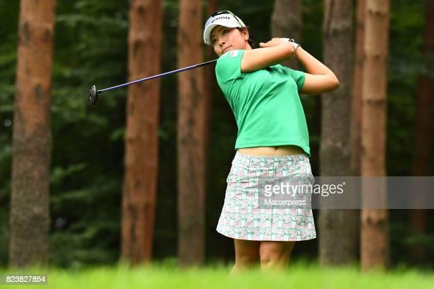 Rikako Morita of Japan hits her tee shot on the 13th hole during the second round of the Daito Kentaku Eheyanet Ladies 2017 at the Narusawa Golf Club...