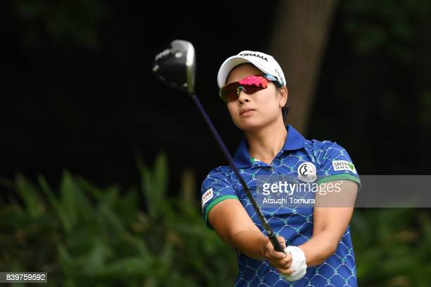 Rikako Morita of Japan hits her tee shot on the 13th hole during the final round of the Nitori Ladies 2017 at the Otaru Country Club on August 27...