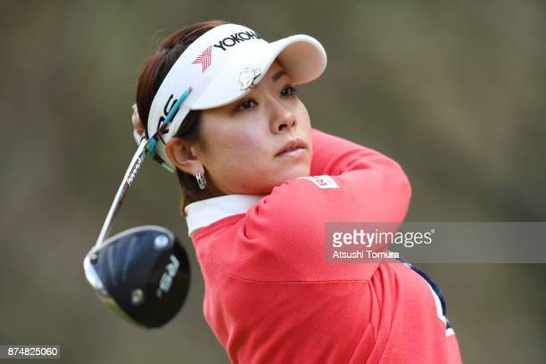 Rikako Morita of Japan hits her tee shot on the 13th hole during the first round of the Daio Paper Elleair Ladies Open 2017 at the Elleair Golf Club...
