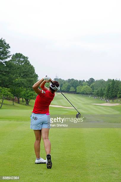 Rikako Morita of Japan hits her tee shot on the 17th hole during the first round of the Suntory Ladies Open at the Rokko Kokusai Golf Club on June 9...