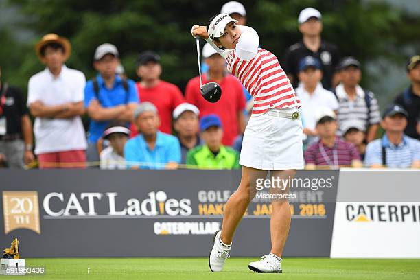 Rikako Morita of Japan hits her tee shot on the 1st hole during the first round of the CAT Ladies Golf Tournament HAKONE JAPAN 2016 at the Daihakone...