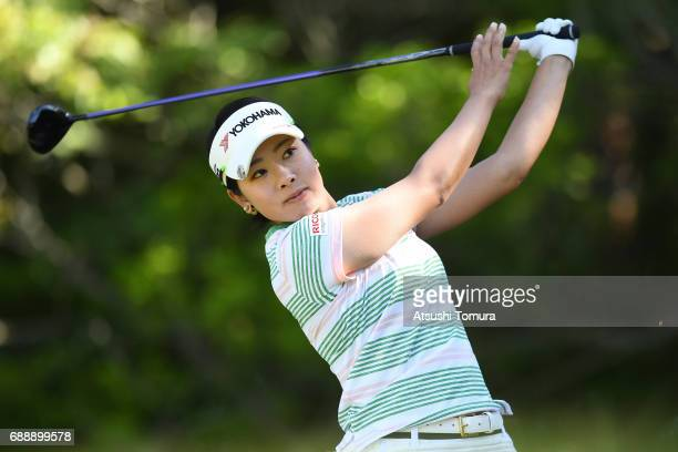 Rikako Morita of Japan hits her tee shot on the 2nd hole during the second round of the Resorttrust Ladies at the Oakmont Golf Club on May 27 2017 in...