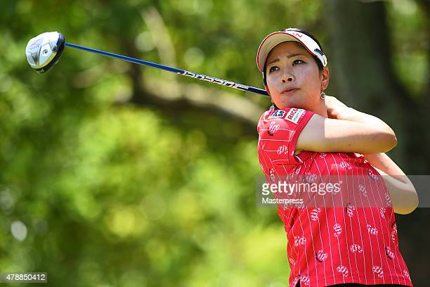 Rikako Morita of Japan hits her tee shot on the 3rd hole during the final round of the Earth Mondamin Cup at the Camellia Hills Country Club on June...