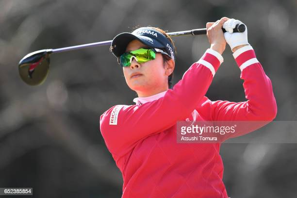 Rikako Morita of Japan hits her tee shot on the 3rd hole during the final round of the Yokohama Tire PRGR Ladies Cup at the Tosa Country Club on...