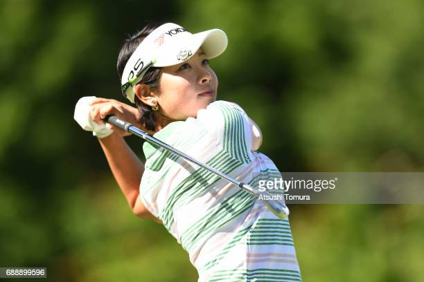 Rikako Morita of Japan hits her tee shot on the 3rd hole during the second round of the Resorttrust Ladies at the Oakmont Golf Club on May 27 2017 in...