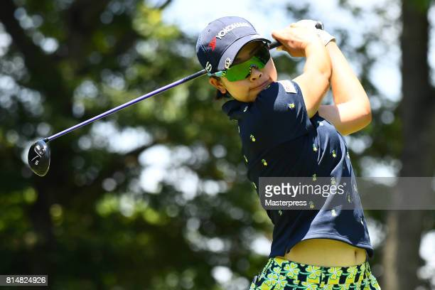 Rikako Morita of Japan hits her tee shot on the 3rd hole during the second round of the Samantha Thavasa Girls Collection Ladies Tournament at the...