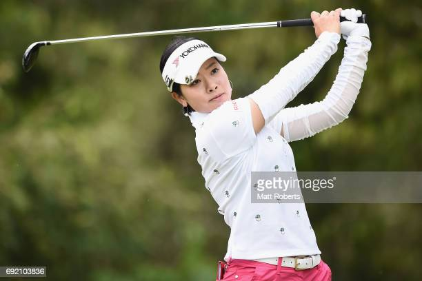 Rikako Morita of Japan hits her tee shot on the 4th hole during the final round of the Yonex Ladies Golf Tournament 2016 at the Yonex Country Club on...