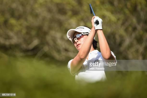 Rikako Morita of Japan hits her tee shot on the 5th hole during the second round of the HokennoMadoguchi Ladies at the Fukuoka Country Club Wajiro...