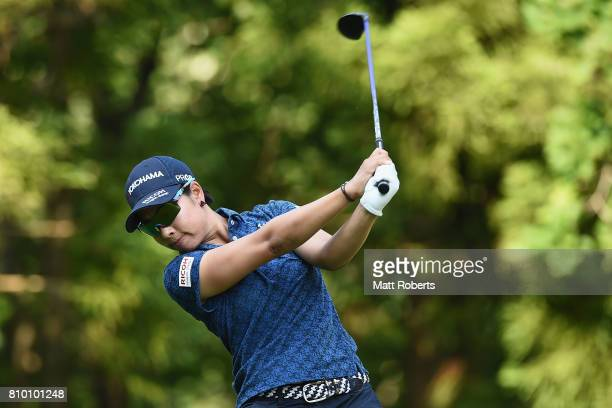 Rikako Morita of Japan hits her tee shot on the 8th hole during the first round of the Nipponham Ladies Classics at the Ambix Hakodate Club on July 7...