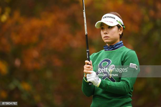 Rikako Morita of Japan lines up her tee shot on the 2nd hole during the third round of the Daio Paper Elleair Ladies Open 2017 at the Elleair Golf...