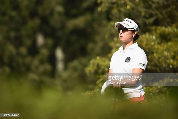 Rikako Morita of Japan looks on before her tee shot on the 5th hole during the second round of the HokennoMadoguchi Ladies at the Fukuoka Country...