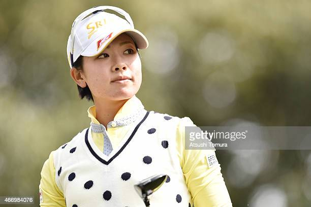 Rikako Morita of Japan looks on during first round of the TPoint Ladies Golf Tournament at the Wakagi Golf Club on March 20 2015 in Takeo Japan