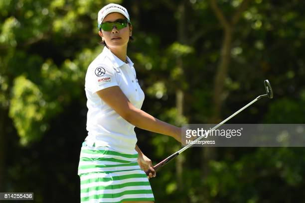 Rikako Morita of Japan looks on during the first round of the Samantha Thavasa Girls Collection Ladies Tournament at the Eagle Point Golf Club on...