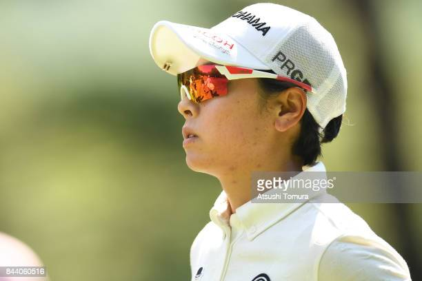 Rikako Morita of Japan looks on during the second round of the 50th LPGA Championship Konica Minolta Cup 2017 at the Appi Kogen Golf Club on...