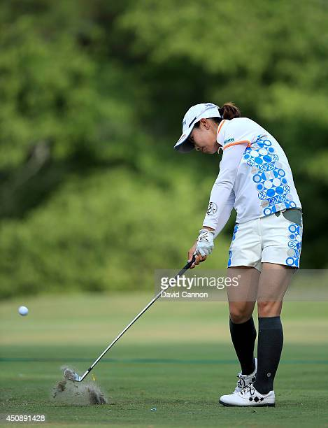Rikako Morita of Japan plays her tee shot at the par 3 15th hole during the first round of the 69th US Women's Open at Pinehurst Resort Country Club...
