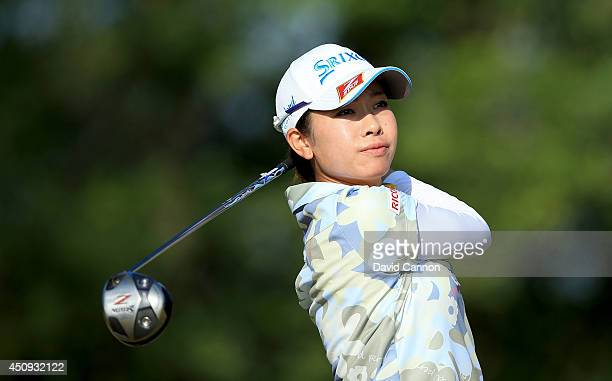 Rikako Morita of Japan plays her tee shot at the par 4 12th hole during the second round of the 69th US Women's Open at Pinehurst Resort Country Club...