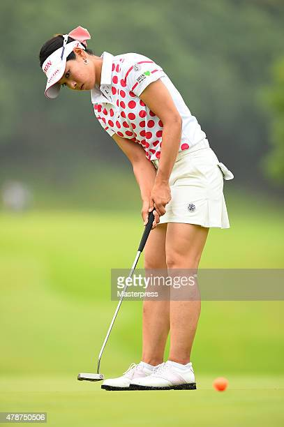 Rikako Morita of Japan putts during the third round of the Earth Mondamin Cup at the Camellia Hills Country Club on June 27 2015 in Sodegaura Japan