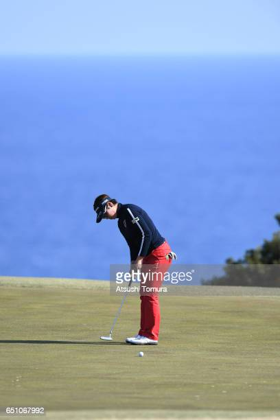 Rikako Morita of Japan putts on the 16th green during the first round of the Yokohama Tire PRGR Ladies Cup at the Tosa Country Club on March 10 Konan...