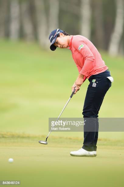 Rikako Morita of Japan putts on the 3rd green during the first round of the 50th LPGA Championship Konica Minolta Cup 2017 at the Appi Kogen Golf...