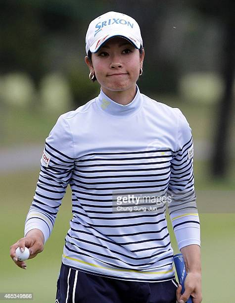 Rikako Morita of Japan reacts after a putt during the first round of the Daikin Orchid Ladies Golf Tournament at the Ryukyu Golf Club on March 6 2015...
