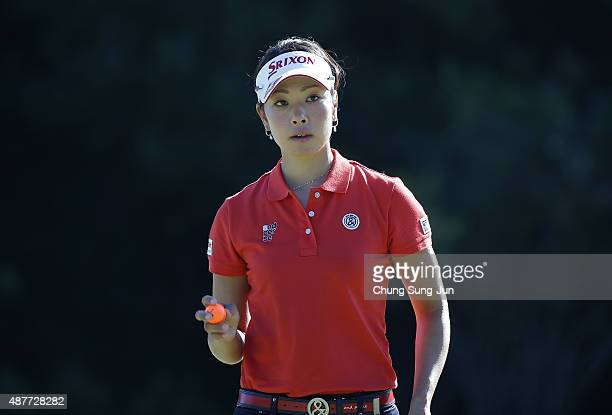 Rikako Morita of Japan reacts after a putt on the second green during the second round of the 48th LPGA Championship Konica Minolta Cup 2015 at the...