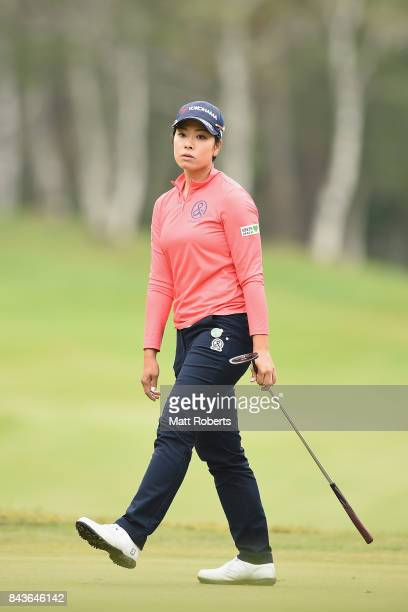 Rikako Morita of Japan reacts after her putt on the 3rd green during the first round of the 50th LPGA Championship Konica Minolta Cup 2017 at the...