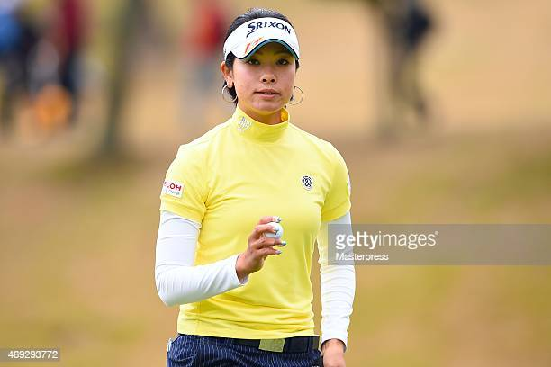 Rikako Morita of Japan reacts on the 17th green during the second round of the Studio Alice Open at the Hanayashiki Golf Club Yokawa Course on April...