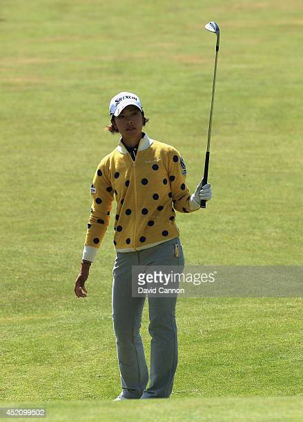 Rikako Morita of Japan reacts to her 3rd shot on the 17th hole during the final round of the Ricoh Women's British Open at Royal Birkdale on July 13...