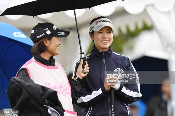 Rikako Morita of Japan smiles during the final round of the Studio Alice Open at the Hanayashiki Golf Club Yokawa Course on April 9 2017 in Miki Japan