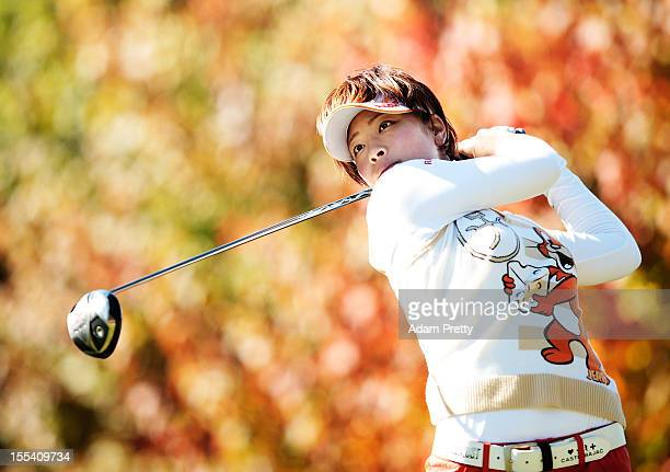 Rikako Morita of Japan tees off during the final round of the Mizuno Classic at Kintetsu Kashikojima Country Club on November 4 2012 in Shima Japan