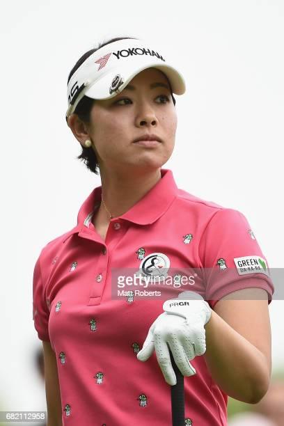 Rikako Morita of Japan watches her tee shot on the 10th hole during the first round of the HokennoMadoguchi Ladies at the Fukuoka Country Club Wajiro...