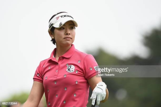 Rikako Morita of Japan watches her tee shot on the 10th hole during the first round of the HokennoMadoguchi Ladies at the Fukuoka Country Club Wajiro...