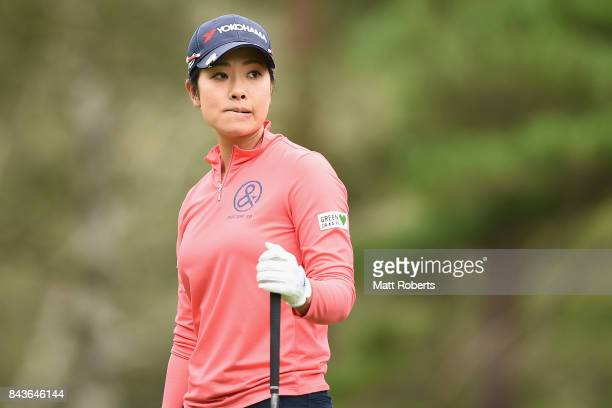Rikako Morita of Japan watches her tee shot on the 4th hole during the first round of the 50th LPGA Championship Konica Minolta Cup 2017 at the Appi...