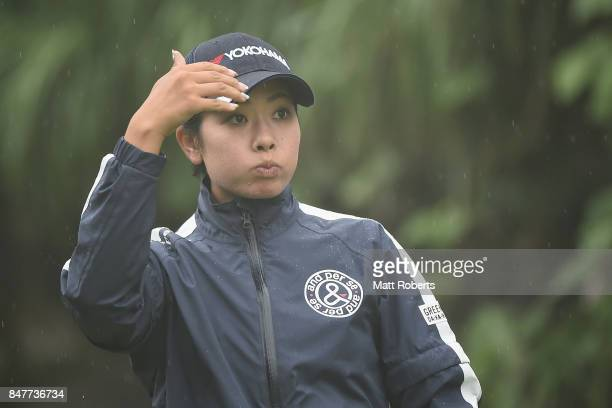 Rikako Morita of Japan watches her tee shot on the 5th hole during the second round of the Munsingwear Ladies Tokai Classic 2017 at the Shin Minami...