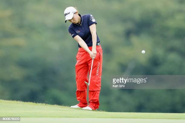 Rikako Sakashita of Japan hits an approach on the 9th hole during the final round of the Yupiteru The Shizuoka Shimbun SBS Ladies at the Shizuoka...
