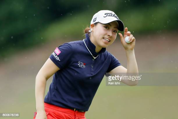 Rikako Sakashita of Japan reacts after the 9th hole during the final round of the Yupiteru The Shizuoka Shimbun SBS Ladies at the Shizuoka Country...