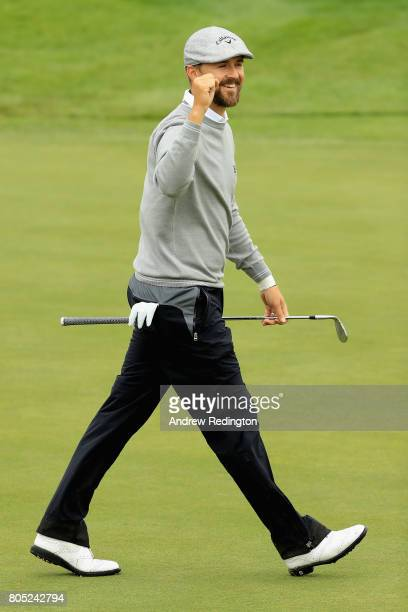 Rikard Karlberg of Sweden celebrates after he chips in for berdie on the 6th during day three of the HNA Open de France at Le Golf National on July 1...