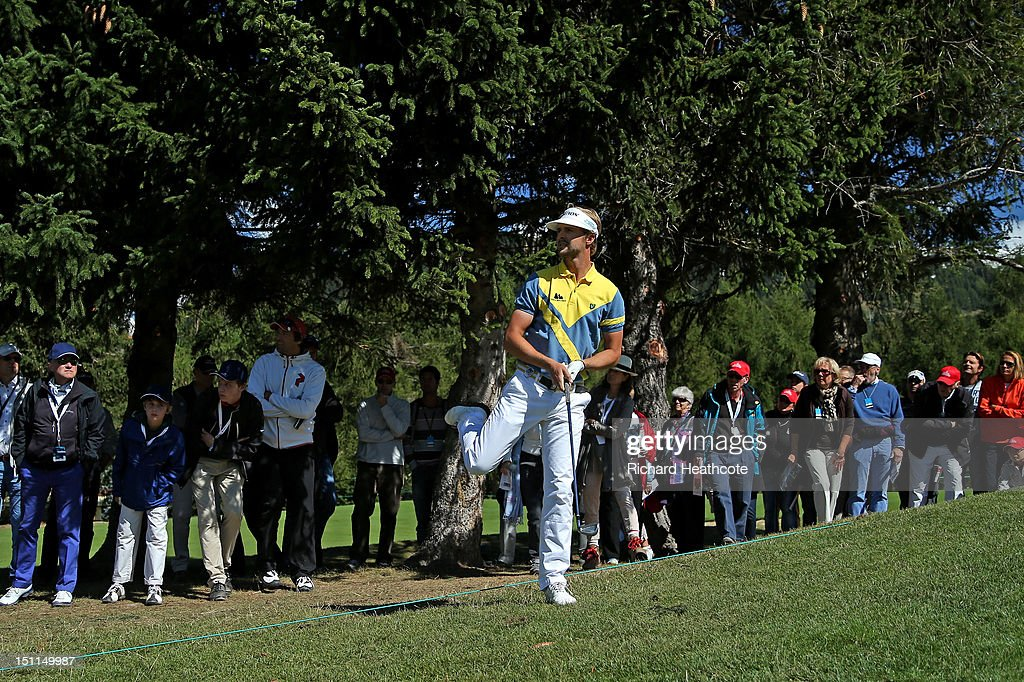 Rikard Karlberg of Sweden in action during the final round of the Omega European Masters at Crans-sur-Sierre Golf Club on September 2, 2012 in Crans, Switzerland.