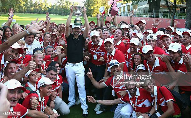 Rikard Karlberg of Sweden poses with the trophy after winning the 72nd Open d'Italia at Golf Club Milano on September 20 2015 in Monza Italy