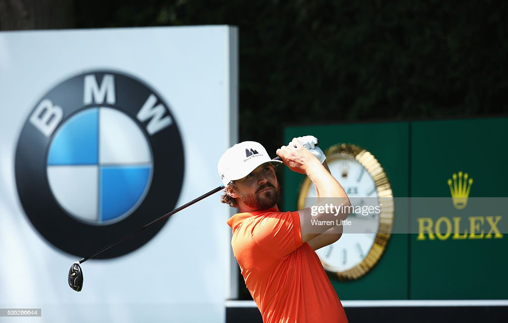 Rikard Karlberg of Sweden tees off on the 18th hole during day four of the BMW PGA Championship at Wentworth on May 29, 2016 in Virginia Water, England.