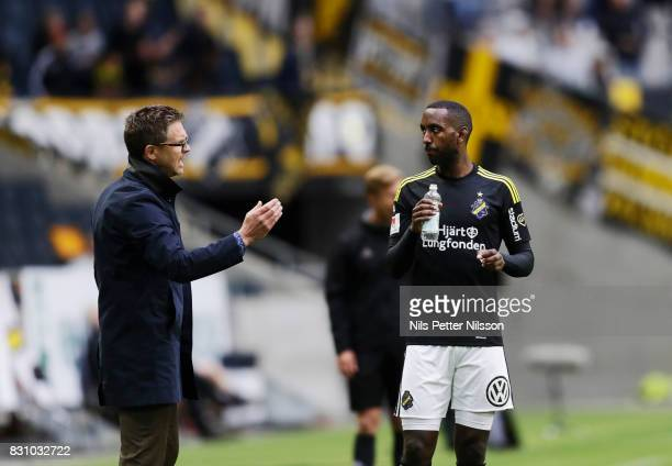 Rikard Norling head coach of AIK and Henok Goitom of AIK in discussion during the Allsvenskan match between AIK and Athletic FC Eskilstura at Friends...