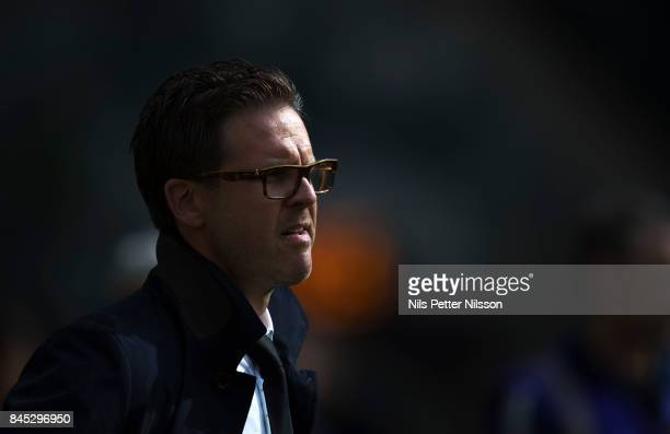 Rikard Norling head coach of AIK during the Allsvenskan match between Hammarby IF and AIK at Tele2 Arena on September 10 2017 in Stockholm Sweden