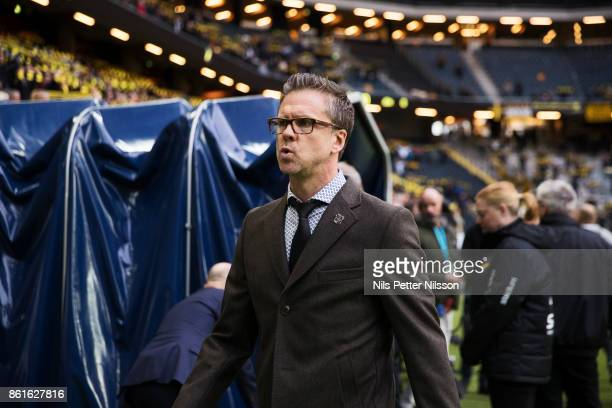 Rikard Norling head coach of AIK during the Allsvenskan match between AIK and Jonkopings Sodra IF at Friends Arena on October 15 2017 in Solna Sweden