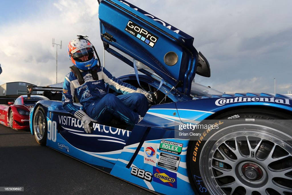 Rikcy Taylor climbs from his car in the paddock after qualifying for the Grand-Am of the Americas at Circuit of The Americas on March 1, 2013 in Austin, Texas.