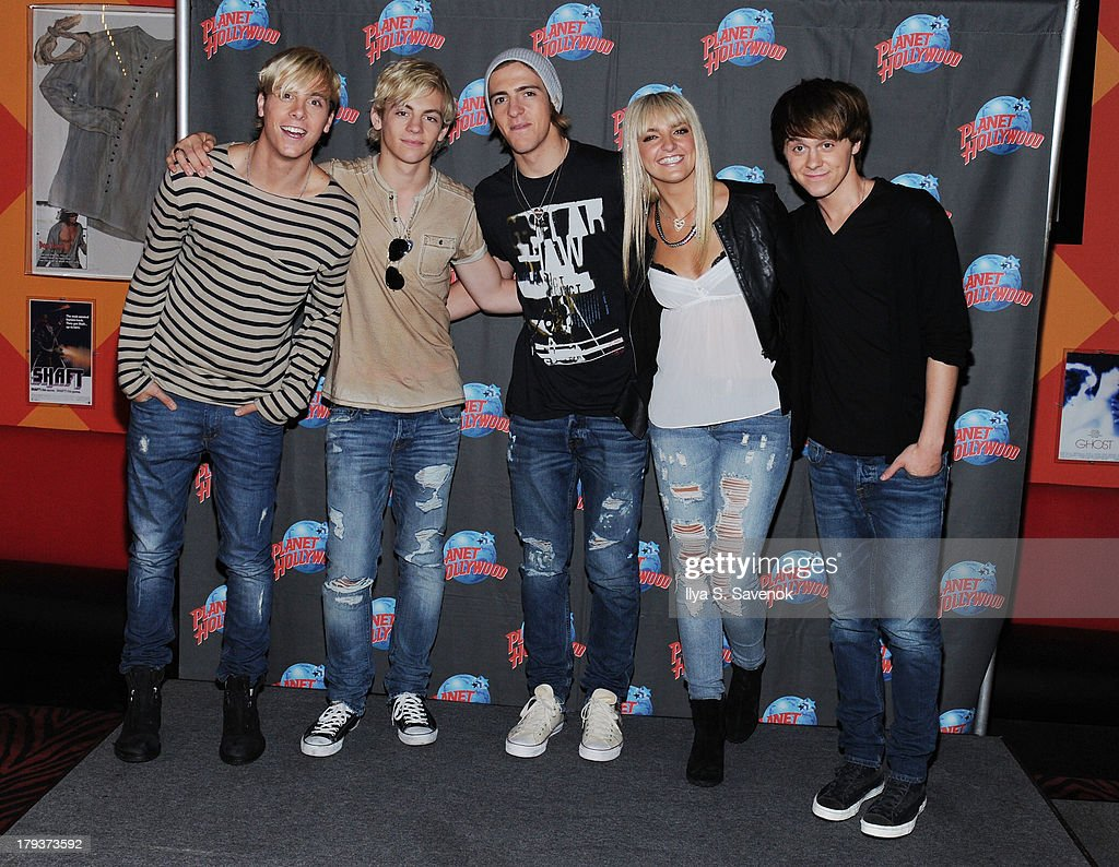 Riker Lynch, <a gi-track='captionPersonalityLinkClicked' href=/galleries/search?phrase=Ross+Lynch&family=editorial&specificpeople=4814597 ng-click='$event.stopPropagation()'>Ross Lynch</a>, Rocky Lynch, Rydel Lynch and Ellington Ratliff of the band R5 visit Planet Hollywood Times Square on September 2, 2013 in New York City.