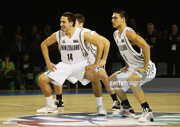 Riki Buckrell and Nathan Morgan of New Zealand perform the Haka during the FIBA Under 19 World Championship match between New Zealand and Croatia at...